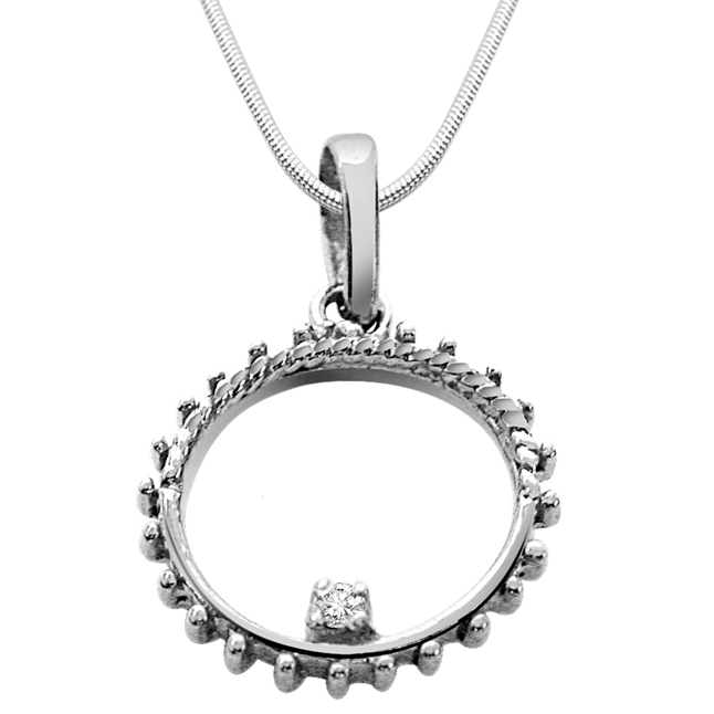 "Twisty Real Diamond & Sterling Silver Pendants with 18"" Chain"