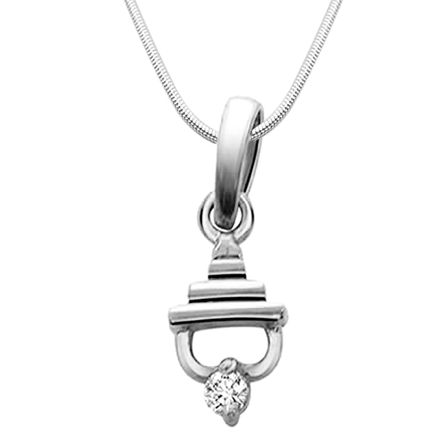 Temple Beauty - Real Diamond & Sterling Silver Pendant with 18 IN Chain