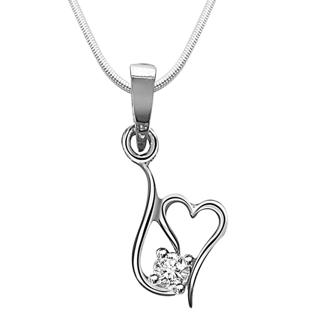 "Twisted Heart -Real Diamond & Sterling Silver Pendants with 18"" Chain"