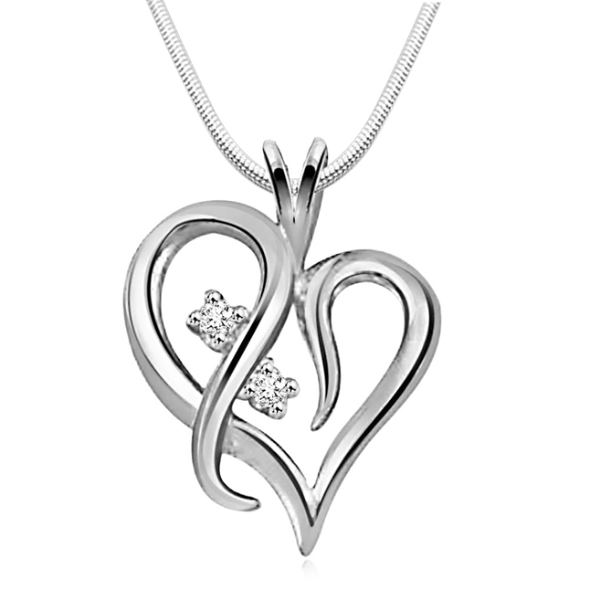 "With you always -Real Diamond & Sterling Silver Pendants with 18"" Chain"