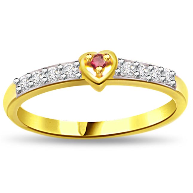 Sun Moon Affair 0.12ct Diamond & Ruby Heart rings SDR1001
