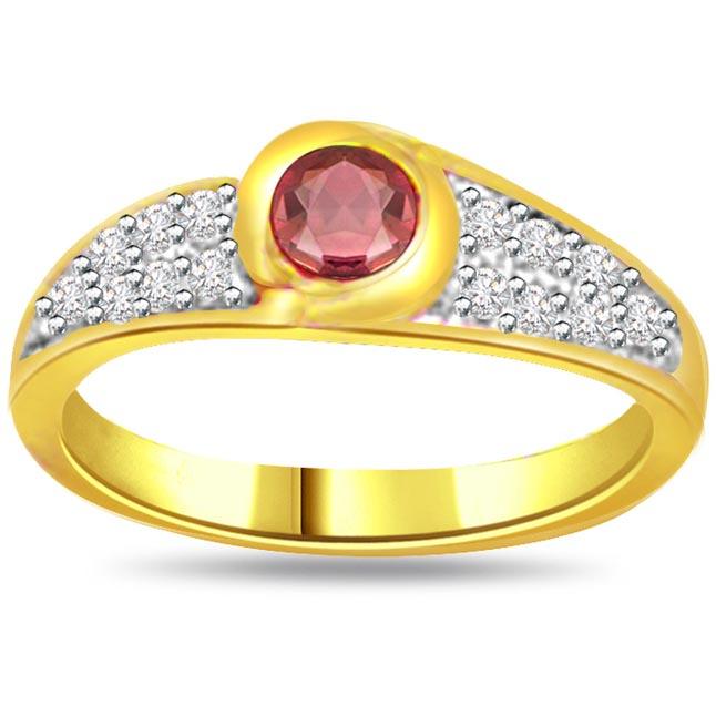 Glitterings Star 0.21ct Diamond & Ruby Heart rings SDR1003