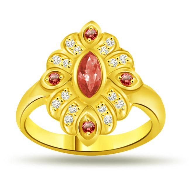 Groom's Desire Flower Shape Diamond & Ruby rings SDR1004