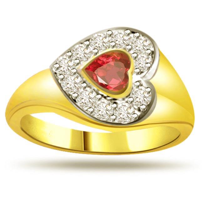 Lover's Choice Diamond & Ruby Heart rings SDR1005