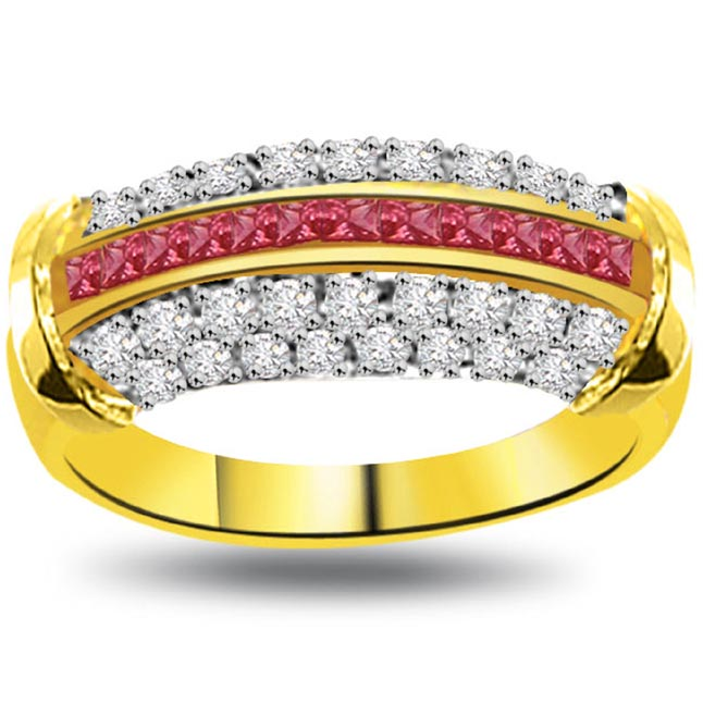 Faith in Each Other 0.40ct Diamond & Ruby rings SDR1010