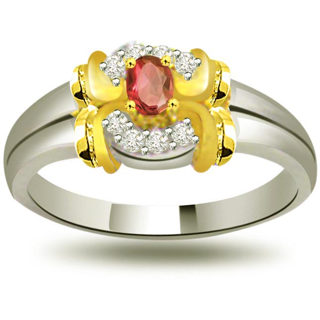 Lustrous Rose Trendy Diamond & Ruby rings SDR1014
