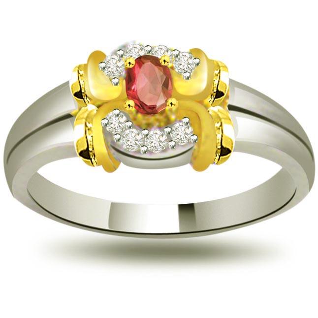 Lustrous Rose Trendy Diamond & Ruby rings SDR1014