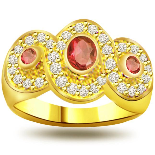 Knotted Flower 0.32ct Diamond & Ruby rings SDR1020