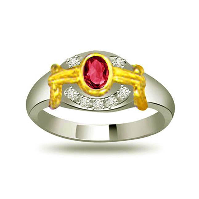 Treasure Look Trendy Diamond & Ruby rings SDR1021
