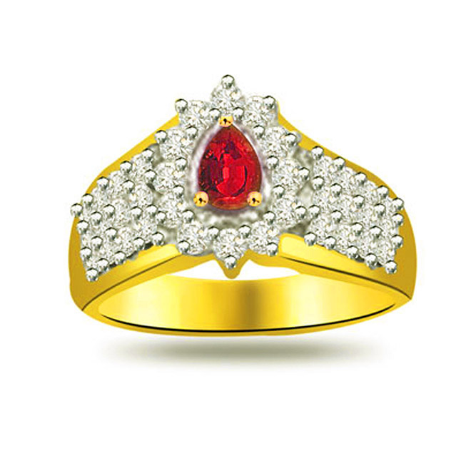 Princess of The Universe 0.40ct Diamond & Ruby rings SDR1022