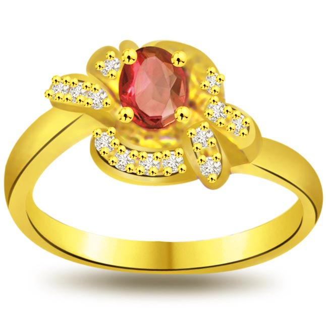 Shine of Love Flower Shape Diamond & Ruby rings SDR1031