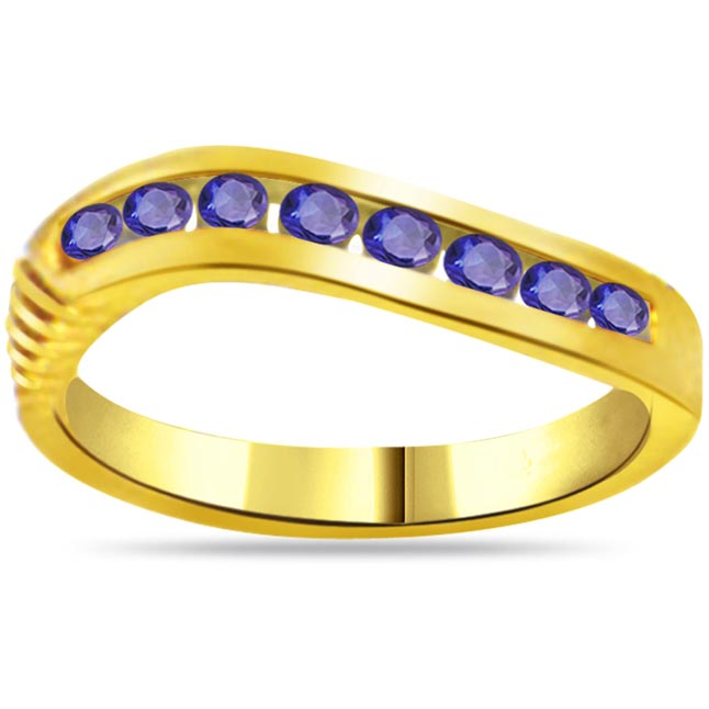 Blue Moonlight 0.24cts Round Sapphire Gold rings SDR1037