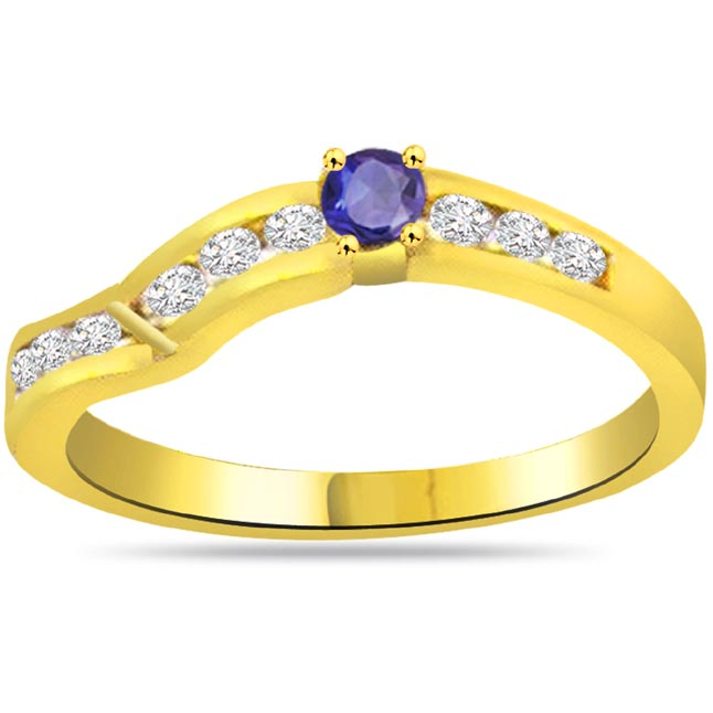 Blue Crown Trendy Diamond & Sapphire rings SDR1039
