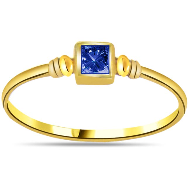 Bluesoom Round Sapphire Gold rings SDR1043