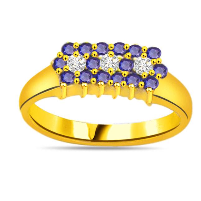 The Blue Floral Elegance Trendy Diamond & Sapphire rings SDR1044