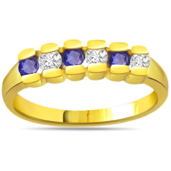 Triple Blue Crown Round Diamond & Sapphir rings SDR1048