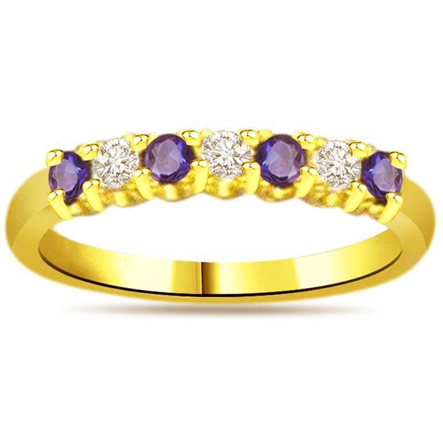 Blue Bold Beauty Trendy Diamond & Sapphire rings SDR1049