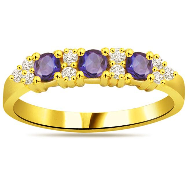 Ocean Desire 0.12ct Diamond & Blue Sapphire Gold rings SDR1050