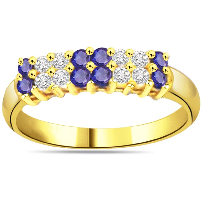 Blue Trinity 0.12ct Diamond & Sapphire Gold rings SDR1052