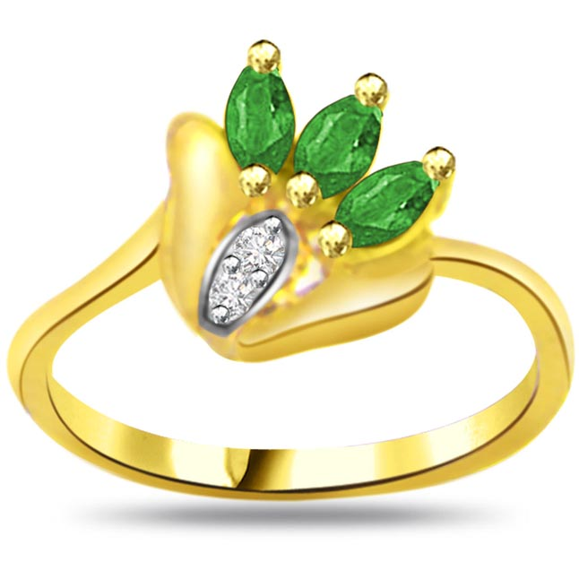 Glitter Green Passion Classic Diamond & Emerald rings SDR1053 -Diamond & Emerald