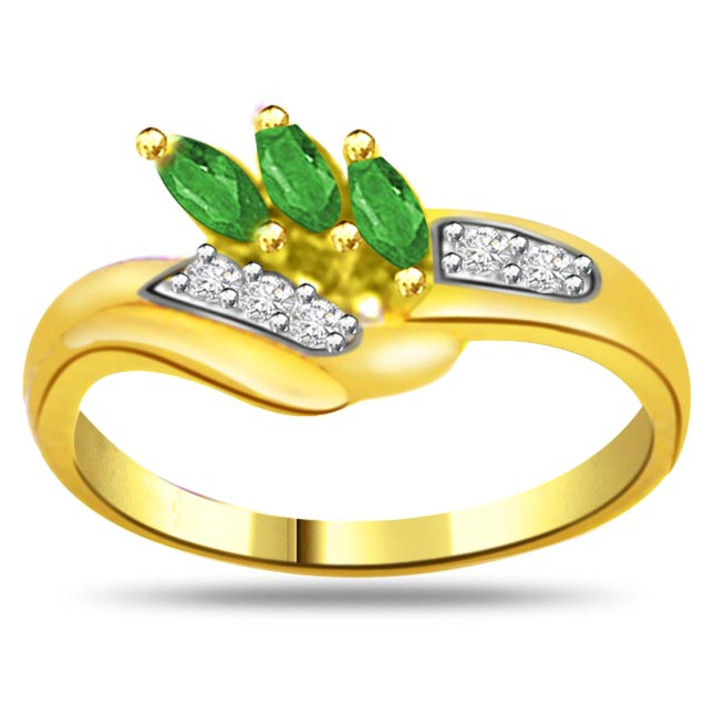 Flowery Emerald Trendy Diamond & Emerald rings SDR1055 -Diamond & Emerald