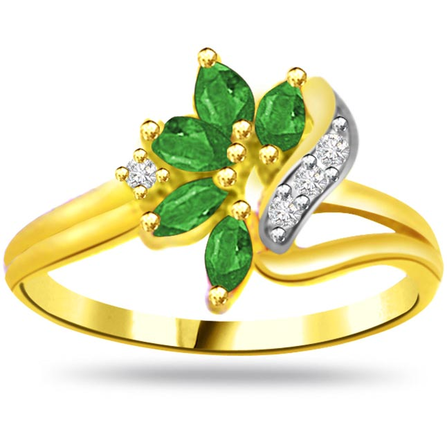 Star of Love Bond Flower Shape Diamond & Emerald rings SDR1056 -Diamond & Emerald