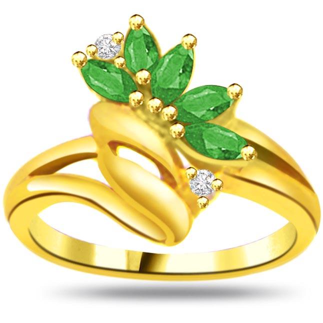 Endless Beauty 0.04ct Diamond & Emerald Gold rings SDR1057 -Diamond & Emerald
