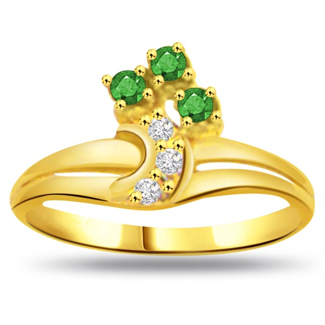 Floral Emerald 0.06ct Diamond & Emerald Gold rings -Diamond & Emerald