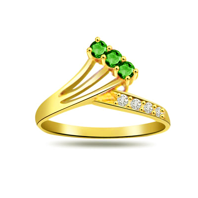 Emerald Enigma 0.08ct Diamond & Emerald Gold rings -Diamond & Emerald
