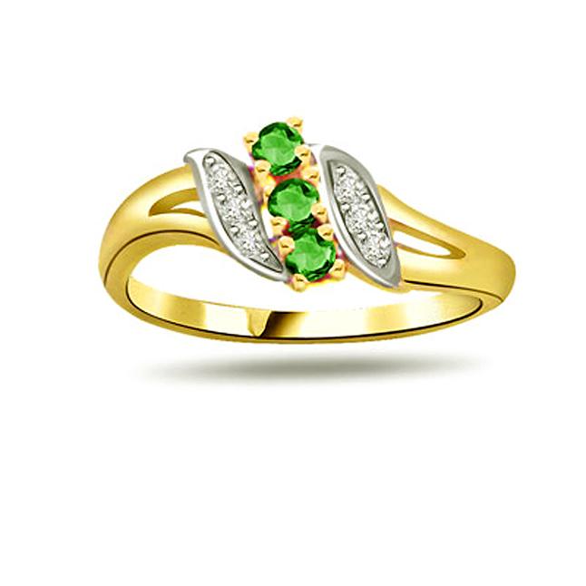 Emerald Knot Diamond Emerald Gold rings