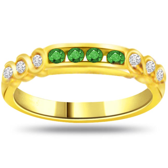 Tie of Love Trendy Diamond & Emerald rings SDR1062 -Diamond & Emerald