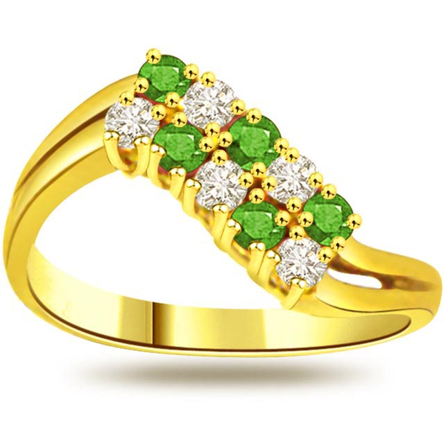 Green Envy 0.15ct Diamond & Emerald Gold rings SDR1063 -Diamond & Emerald