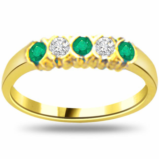 Love Ribbon Classic Diamond & Emerald rings SDR1064 -Diamond & Emerald