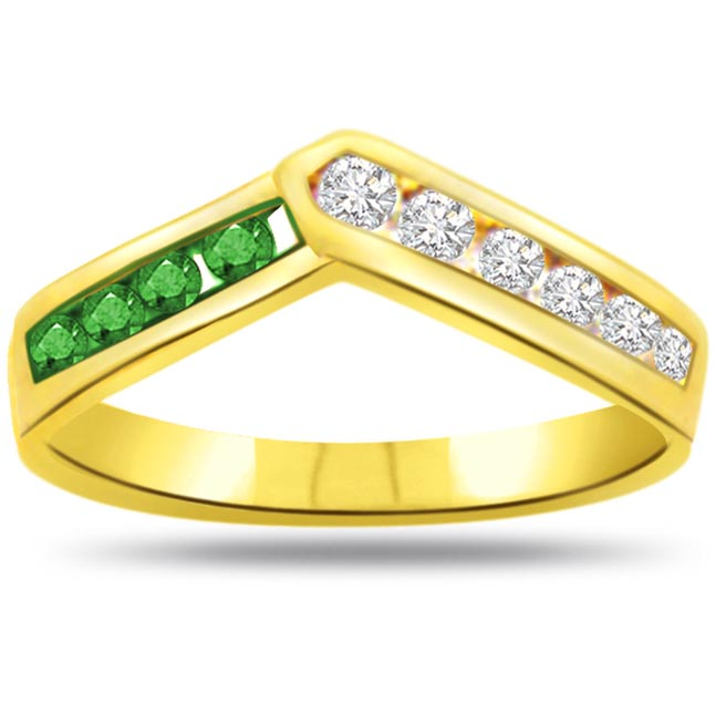 Victory Conch Classic Diamond & Emerald rings SDR1068 -Diamond & Emerald