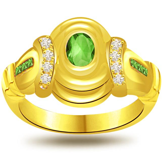 Cheerings Charm 0.16ct Diamond & Emerald Gold rings SDR1069 -Diamond & Emerald