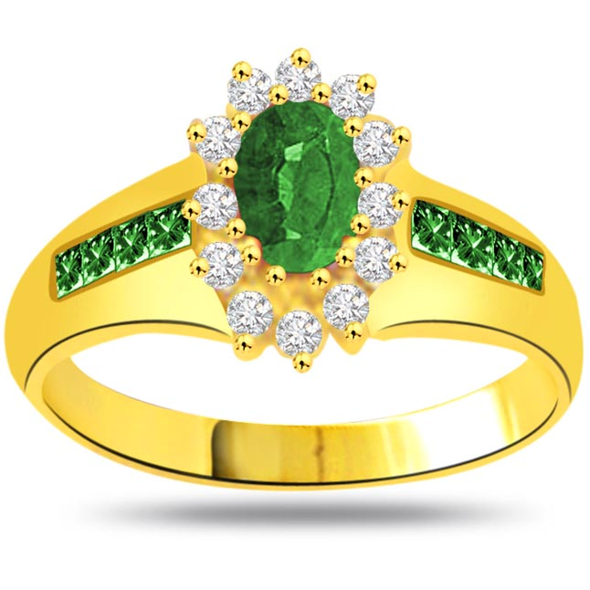 Matrimony Delight 1.39CT Diamond & Oval,Round Emerald Flower rings -Diamond & Emerald