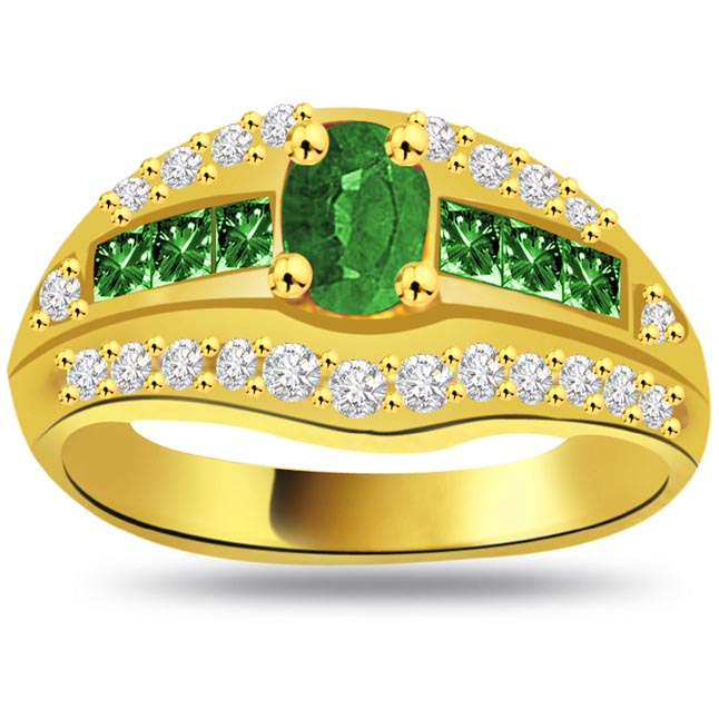 Valley of Green Flowers 0.22ct Diamond & Emerald Gold rings SDR1072 -Diamond & Emerald