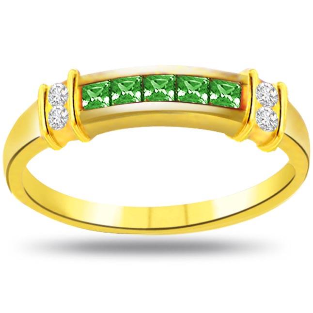 Green Swing Elegant Diamond & Emerald rings SDR1073 -Diamond & Emerald