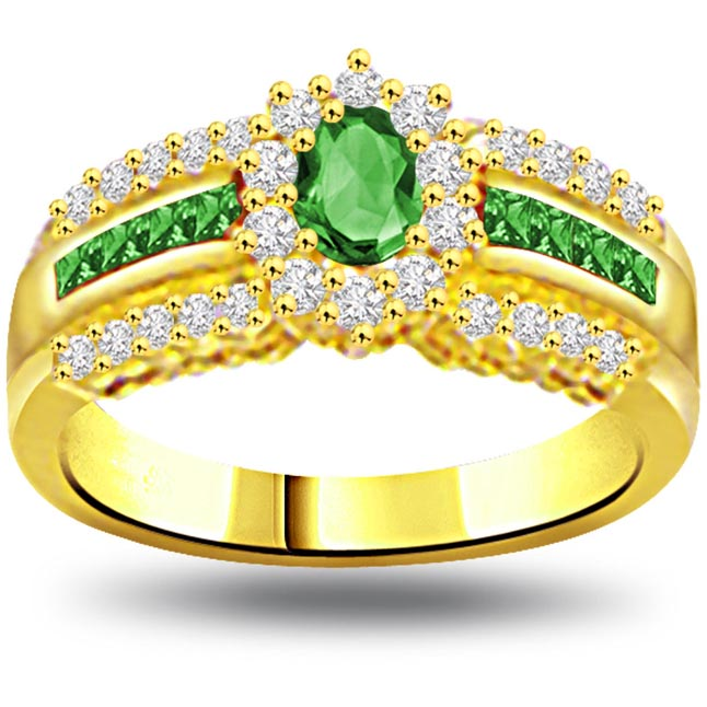 Green Garden 0.30ct Diamond & Emerald Gold rings SDR1074 -Diamond & Emerald