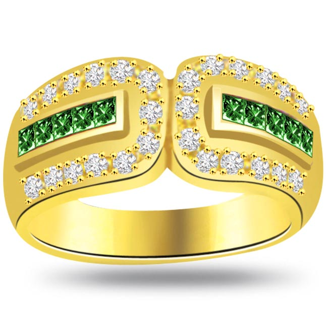Green Eyes Beauty 0.30ct Diamond & Emerald Gold rings SDR1075 -Diamond & Emerald