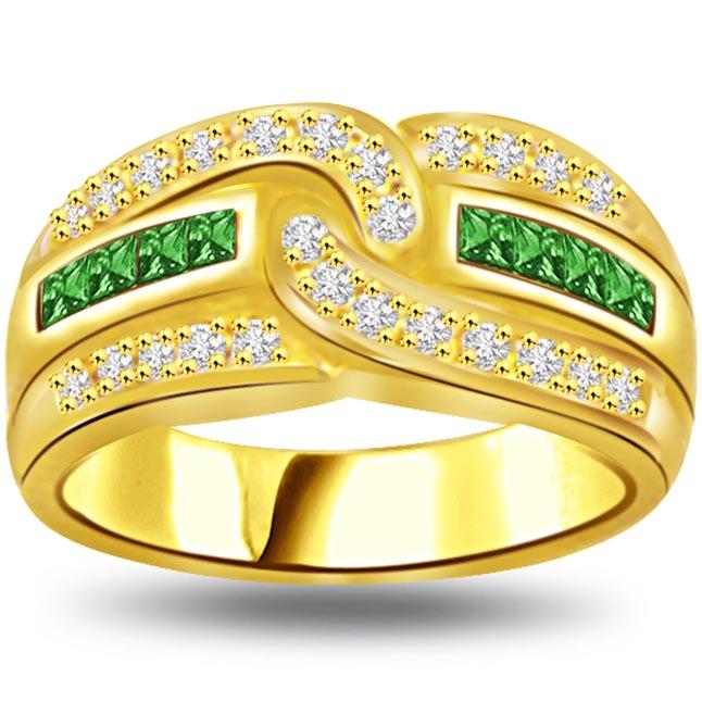 Mystical Green 0.28ct Diamond & Emerald Gold rings SDR1076 -Diamond & Emerald