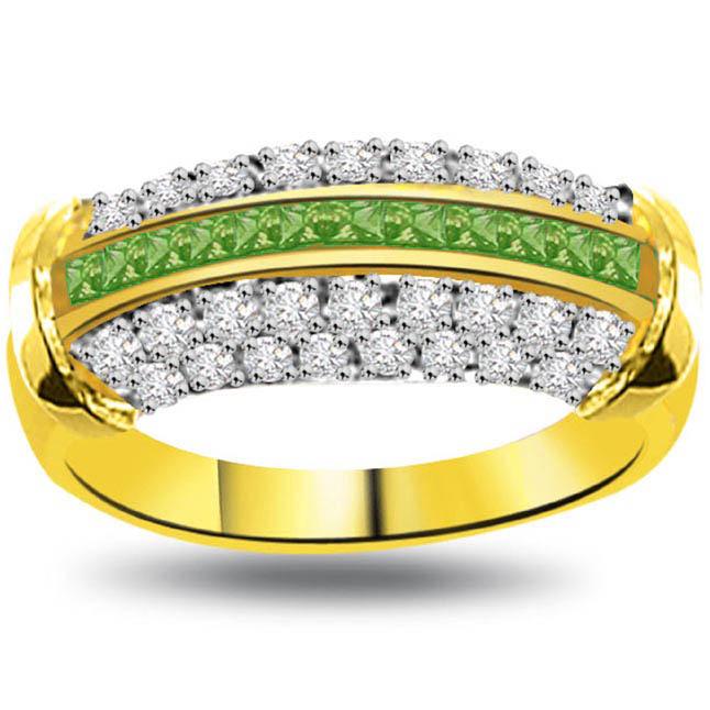 Emerald Diva 0.40ct Diamond & Emerald Gold rings SDR1078 -Diamond & Emerald