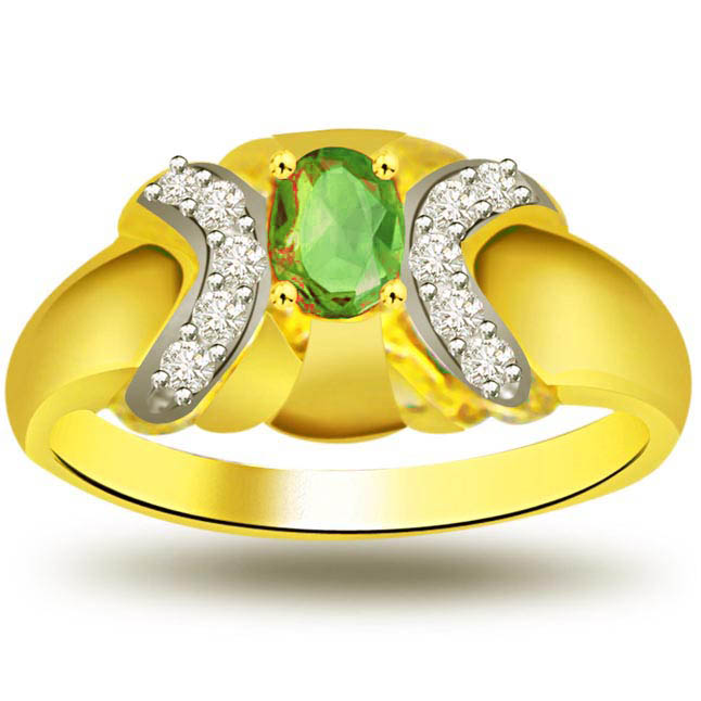 Secret Desire Classic Diamond & Emerald rings SDR1081 -Diamond & Emerald
