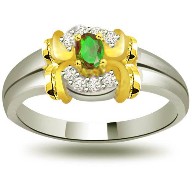 Prestigious Knot of Love Trendy Diamond & Emerald rings SDR1083 -Diamond & Emerald