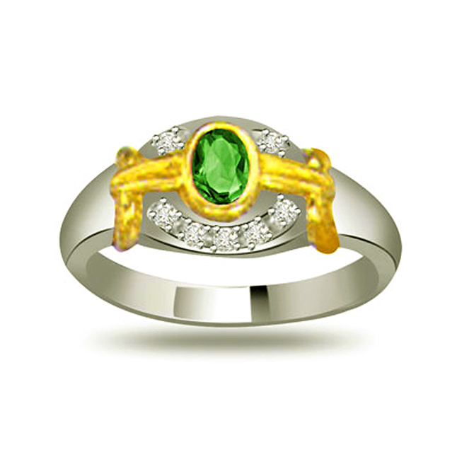 One Color of Rainbow Trendy Diamond & Emerald rings SDR1085 -Diamond & Emerald