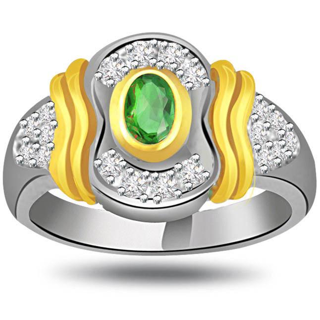 Elegance till Eternity 0.25ct Diamond & Emerald Gold rings SDR1086 -Diamond & Emerald