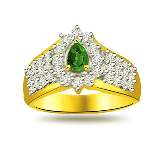 Glowing Bride 0.40ct Diamond & Emerald Gold rings SDR1088 -Diamond & Emerald