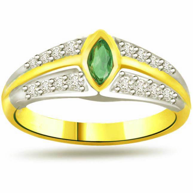 Evergreen Desire 0.16ct Diamond & Emerald Gold rings SDR1091 -Diamond & Emerald