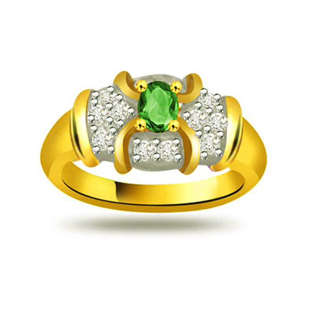 Angel's Dream 0.18ct Diamond & Emerald Gold rings SDR1092 -Diamond & Emerald