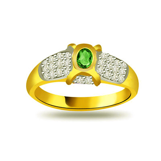Shine of Bridal 0.30ct Diamond & Emerald Gold rings SDR1093 -Diamond & Emerald